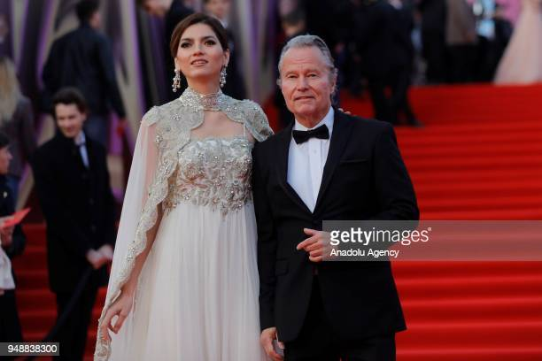 American actressBlanca Blanco and actor John Savage pose on the red carpet during the opening ceremony of the 40th Moscow International Film...