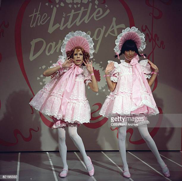 American actresses Carol Burnett and Cher perform as 'The Little Darlings' in a skit on 'The Sonny Cher Comedy Hour' 1972 The pair are dressed in...