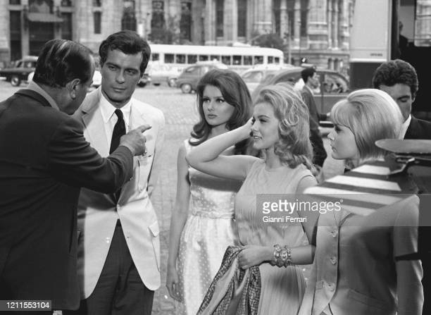 "American actresses Carol Lynley Pamela Tiffin and Swedish actress Ann Margret during the filming of the movie ""Tres chicas en Madrid"" Spain 1965"