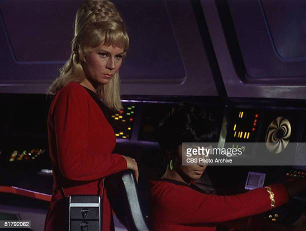 American actresses Grace Lee Whitney as Yeoman Janice Rand and Nichelle Nichols as Lieutenant Uhura at the controls of the Starship Enterprise in...