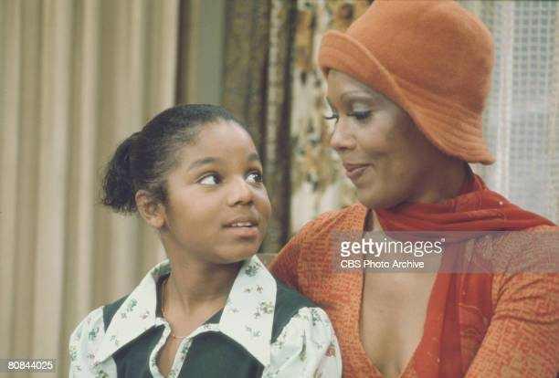 American actresses Janet Jackson and Ja'net DuBois in a scene from the television series 'Good Times' Los Angeles California late 1970s