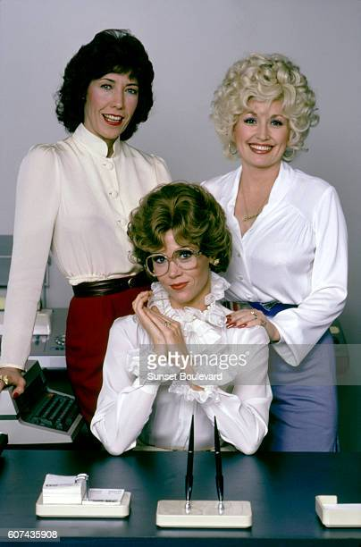 American actresses Lily Tomlin Jane Fonda and Dolly Parton on the set of Nine to Five written and directed by Colin Higgins