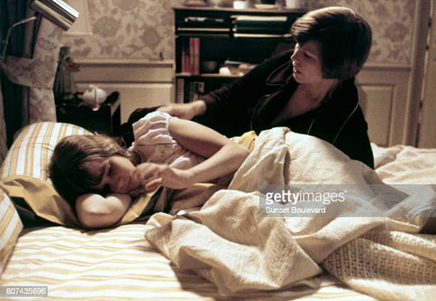 American actresses Linda Blair and Ellen Burstyn on the set of The Exorcist based on the novel by William Peter Blatty and directed by William...