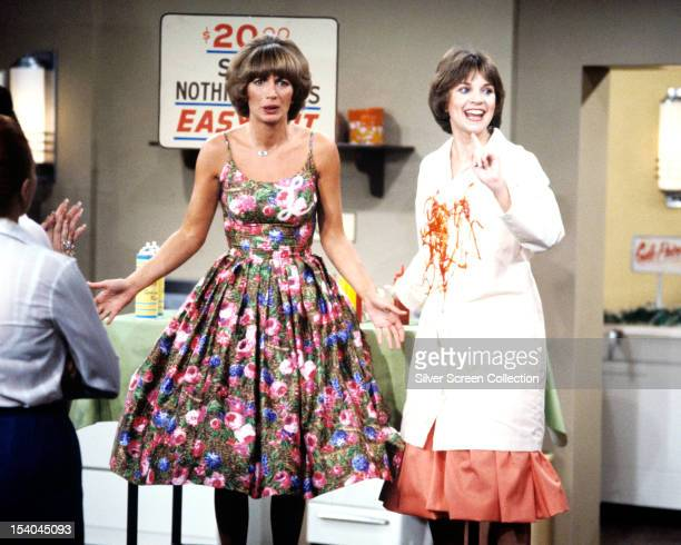 American actresses Penny Marshall as Laverne De Fazio and Cindy Williams as Shirley Feeney in the American TV sitcom 'Laverne Shirley' circa 1978
