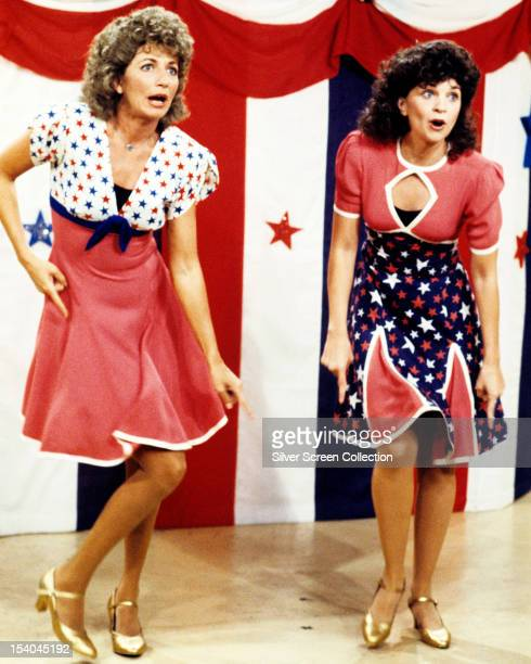 American actresses Penny Marshall as Laverne De Fazio and Cindy Williams as Shirley Feeney in the American TV sitcom 'Laverne Shirley' circa 1980