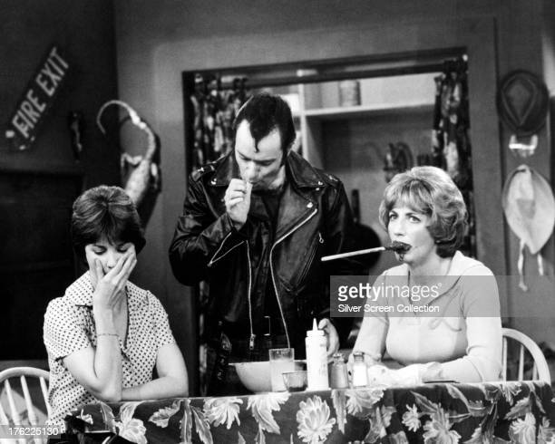 American actresses Penny Marshall as Laverne De Fazio and Cindy Williams as Shirley Feeney with David Lander as Sqiggy in the American TV sitcom...