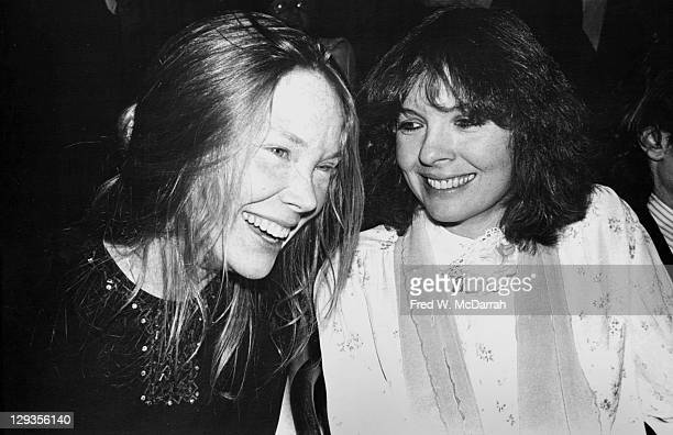 American actresses Sissy Specek and Diane Keaton share a laugh as they attend the New York Film Critics Circle awards ceremony New York New York...