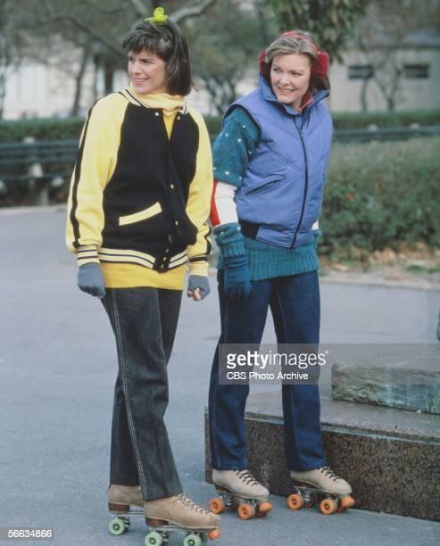 American actresses Susan Saint James and Jane Curtain rollerskate through a park in a still from the CBS television sitcom 'Kate Allie' New York New...
