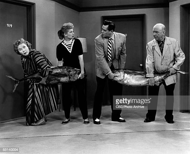 American actresses Vivian Vance and Lucille Ball team up against Cuban-born actor Desi Arnaz and American actor William Frawley in a tuna fishing...