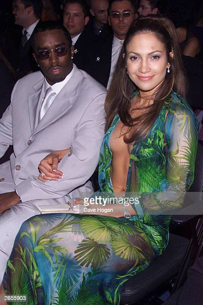 American actress/pop star Jennifer Lopez and American Sean Puff Daddy Coombes attend the 42nd annual Grammy Awards on February 24 2000 in Los Angeles...