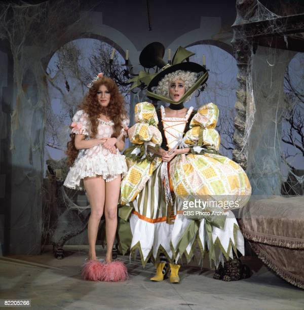 American actress/singers Bette Midler and Cher appear in elaborate costumes in a skit on the television variety show 'The Sonny Cher Comedy Hour' 1972