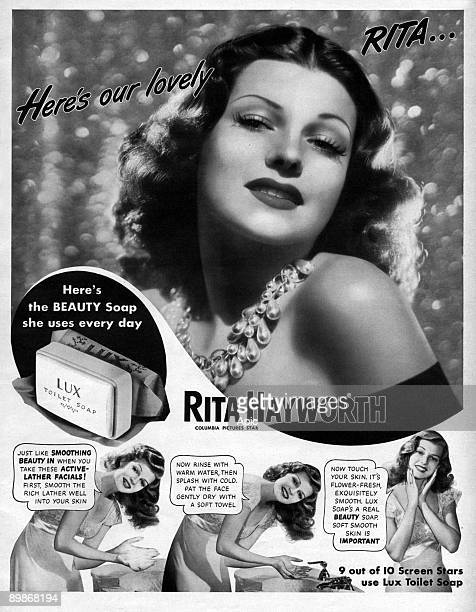 American advertisement for Lux toilet soap used by actress Rita Hayworth from american magazine McCall's 1943