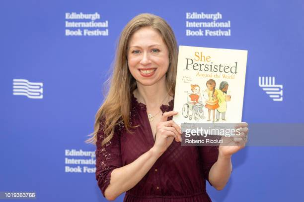 American advocate and children's author Chelsea Clinton attends a photocall during the annual Edinburgh International Book Festival at Charlotte...