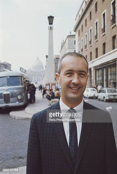 American Air Force pilot and NASA astronaut James McDivitt pictured standing on a street in Rome Italy circa 1967