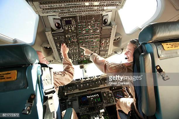 American Air Force Pilots Flying C17 Transport Plane
