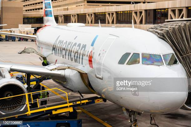 American Airlines Airbus A319-100 aircraft seen at Phoenix Sky Harbor International Airport.
