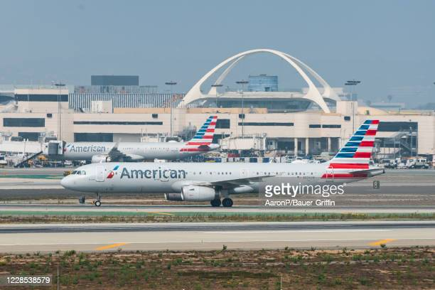 American Airlines Airbus A321-231 arrives at Los Angeles international Airport on September 15, 2020 in Los Angeles, California.