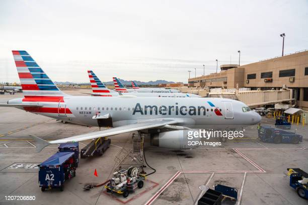American Airlines aircrafts seen at Phoenix Sky Harbor International Airport.