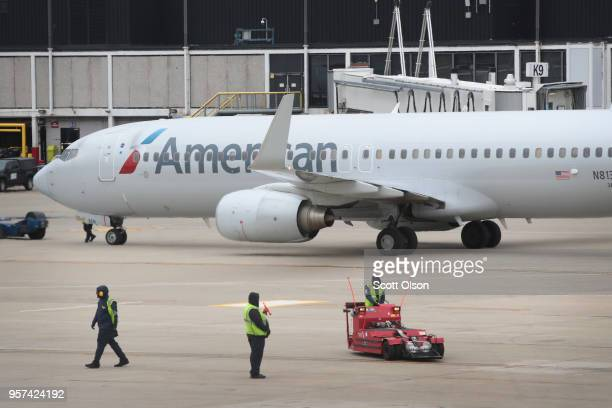 American Airlines aricraft are prepared for flight at O'Hare International Airport on May 11 2018 in Chicago Illinois Today American Airlines held a...