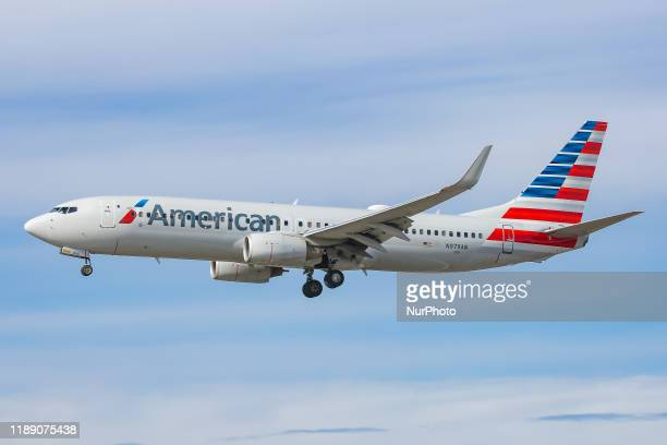 American Airlines Boeing 737-800 aircraft as seen on final approach landing at JFK John F. Kennedy International Airport in New York, USA on 14...