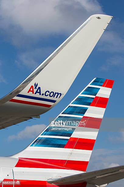 american airlines boeing 767 tail and winglet - airplane tail stock pictures, royalty-free photos & images