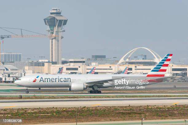 American Airlines Boeing 777-323ER takes off at Los Angeles international Airport on September 15, 2020 in Los Angeles, California.