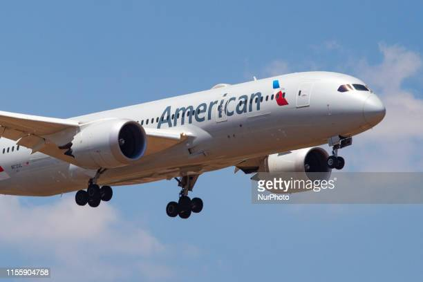 American Airlines Boeing 787-8 Dreamliner aircraft with registration N818AL landing at Athens International Airport AIA LGAV / ATH in Greece during a...