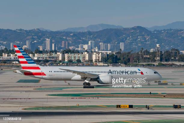 American Airlines Boeing 787-9 Dreamliner takes off from Los Angeles international Airport on November 11, 2020 in Los Angeles, California.