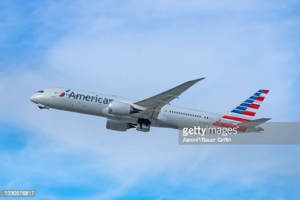 American Airlines Boeing 787-9 takes off from Los Angeles international Airport on January 13, 2021 in Los Angeles, California.