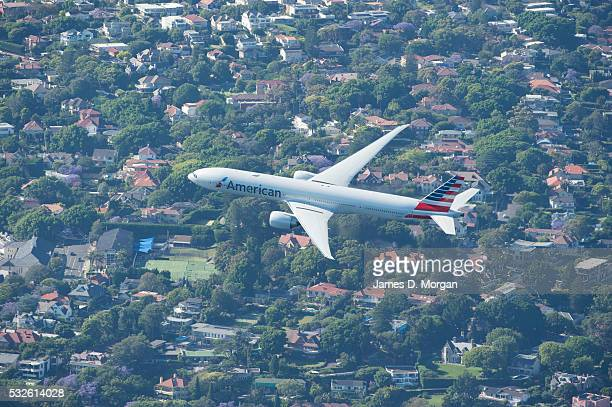 American Airlines bring in their Boeing 777 over the Sydney skyline to celebrate their return to servicing the Harbour City after a gap of 40 years...