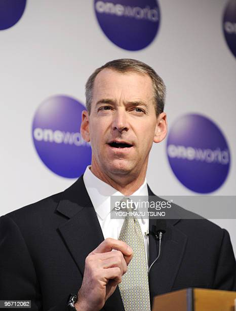 American Airlines executive vice president Thomas Horton speaks to the media at a Tokyo hotel on January 12 2010 as members of the airline alliance...