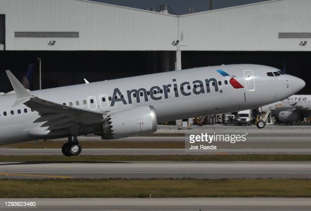 American Airlines flight 718, a Boeing 737 Max, takes of from Miami International Airport on its way to New York on December 29, 2020 in Miami,...