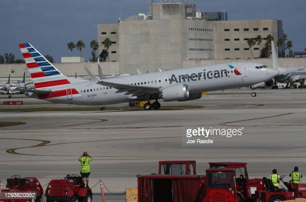 American Airlines flight 718, a Boeing 737 Max, takes off from Miami International Airport to New York on December 29, 2020 in Miami, Florida. The...