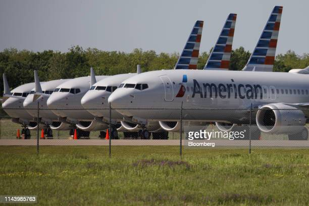 American Airlines Group Inc Boeing Co 737 Max planes sit parked outside of a maintenance hangar at Tulsa International Airport in Tulsa Oklahoma US...