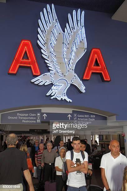 American Airlines logo in Logan International Airport