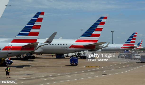 American Airlines passenger jets parked at gates at Dallas/Fort Worth International Airport in Texas