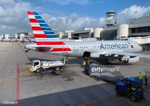 American Airlines planes are seen at Miami International Airport on March 3, 2020 in Miami, Florida.