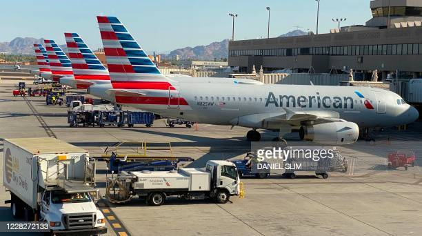 American airlines planes are seen at the Phoenix International airport on August 30, 2020.