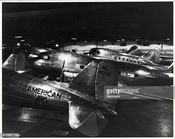 American Airlines planes are shown at an airport Ca 1940s