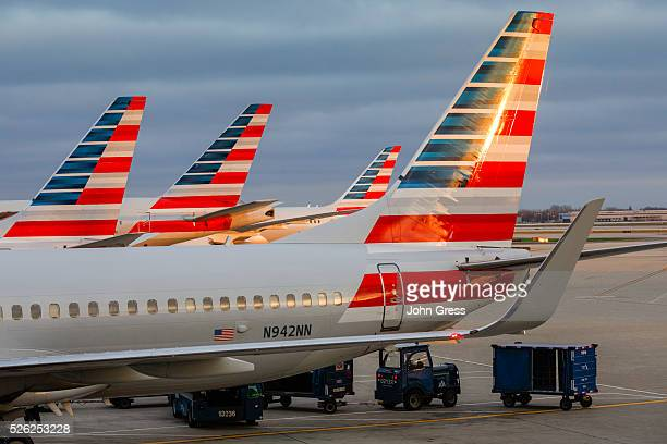 American Airlines planes prepare for takeoff at Chicago's O'Hare International Airport on Christmas day December 25 2015