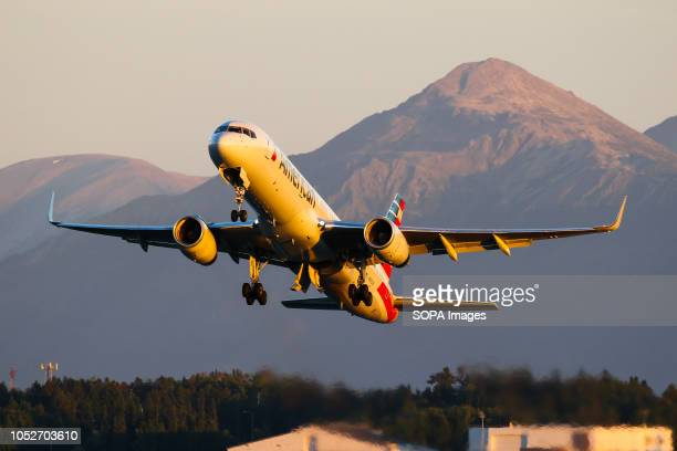 L AIRPORT ANCHORAGE ALASKA UNITED STATES American Airlines seen departing from the beautiful Anchorage during the golden hour