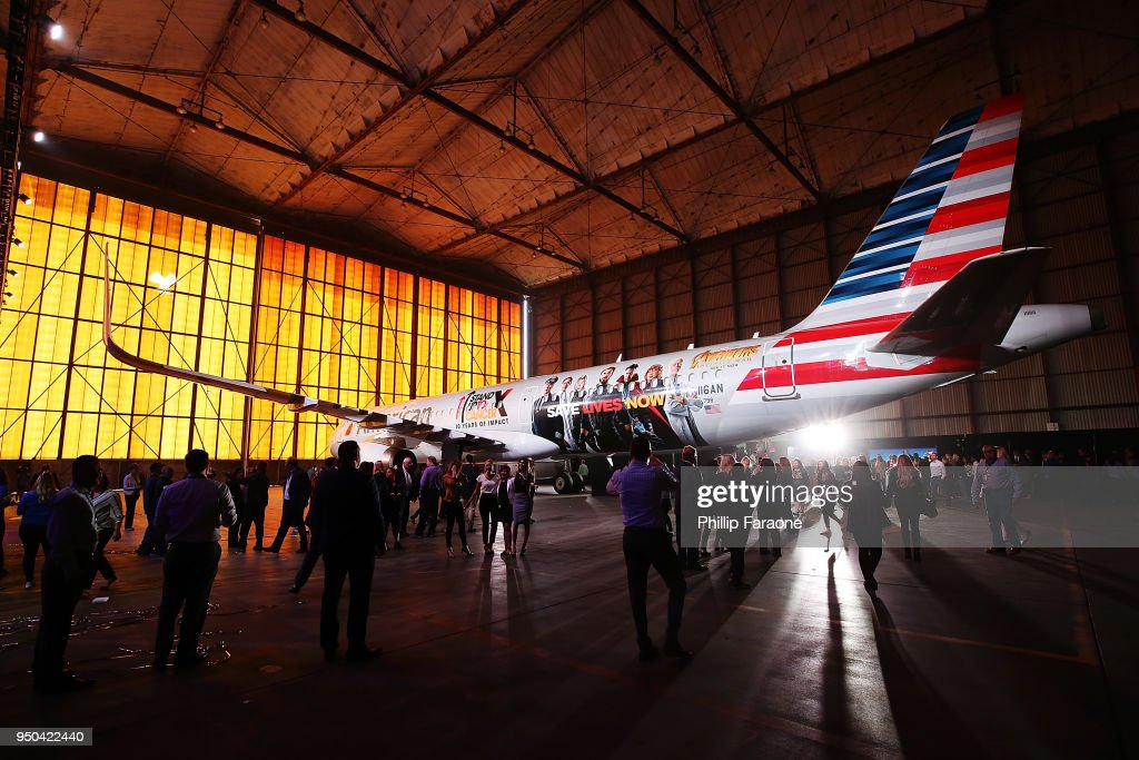 "American Airlines, Stand Up To Cancer, And Marvel Studios' ""Avengers: Infinity War"" Unveil Custom-Wrapped Plane - Arrivals"