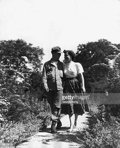 American airman Clarence Villeneuve from USAF Mildenhall Suffolk with his wife Agnes