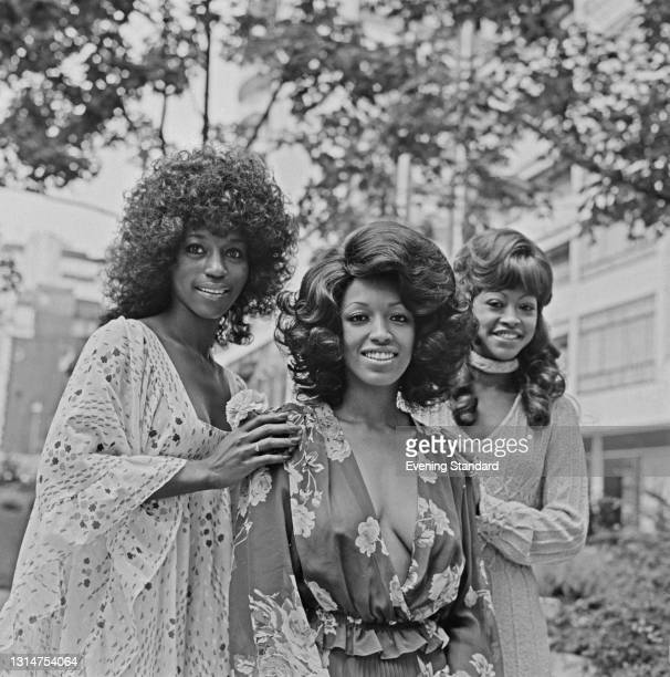 American all-female vocal group The Three Degrees after their record 'When Will I See You Again' reached Number 1 in the UK charts, UK, 16th August...