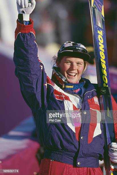 American alpine ski racer Picabo Street after winning the silver medal in the Women's Downhill event at the Winter Olympics at Lillehammer Norway...