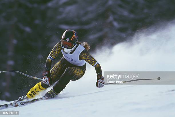 American alpine ski racer Picabo Street training for the Women's Downhill event during the Winter Olympics at Lillehammer Norway16th February 1994...
