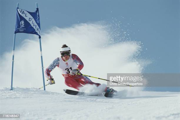 American alpine skier Rob Parisien of the United States team pictured in action to finish in 20th place in the Men's giant slalom skiing event held...
