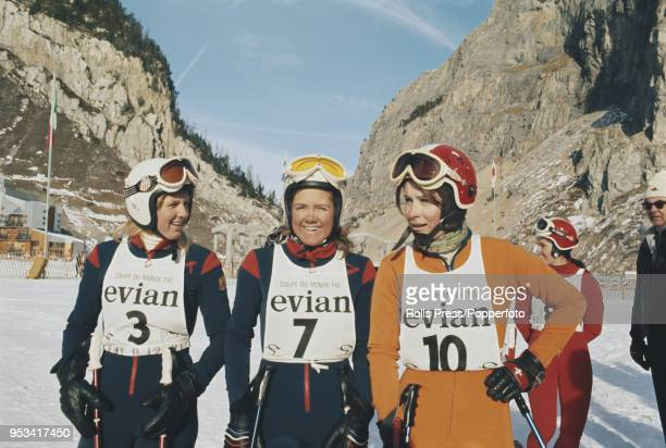 American alpine skiers Karen Budge and Marilyn Cochran pictured together with Swiss skier Michele Rubli during competition in the Ladies slalom and...