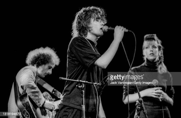 American alt-and folk/rock musician and singer-songwriter Jeff Buckley performs with Gary Lucas on guitar and singer Julia Hayward during the...