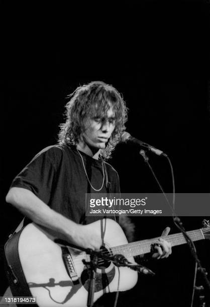 American alt-and folk/rock musician and singer-songwriter Jeff Buckley performs on guitar and vocals at the 'Greetings from Tim Buckley' concert, a...